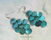 Aqua Mussel Shell Earrings / Cascading Shell Earrings / Chandelier Earrings / Gift for Mom / Gift for her
