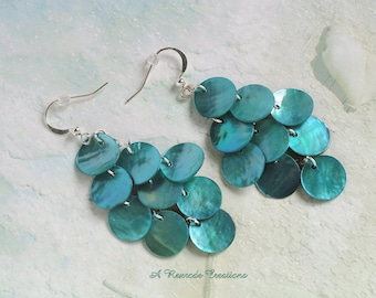Aqua Mussel Shell Earrings Waterfall  Chandelier Earrings Gift for Mom Graduation Gift Fashion Earrings Retro Earrings Handmade Jewelry
