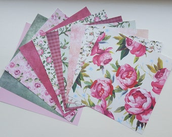 Set of 10 Patterned Papers – Scrapbook Paper 6 x 6 – Pink Green – Lots of Roses - Romantic