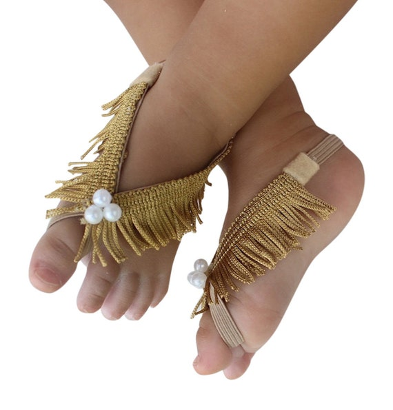 Fringe Baby Sandals, Gold Sandals, Gold Barefoot Sandals, Barefoot Baby Sandals, Baby Barefoot Sandals, Baby Accessories, Sandals For Babies
