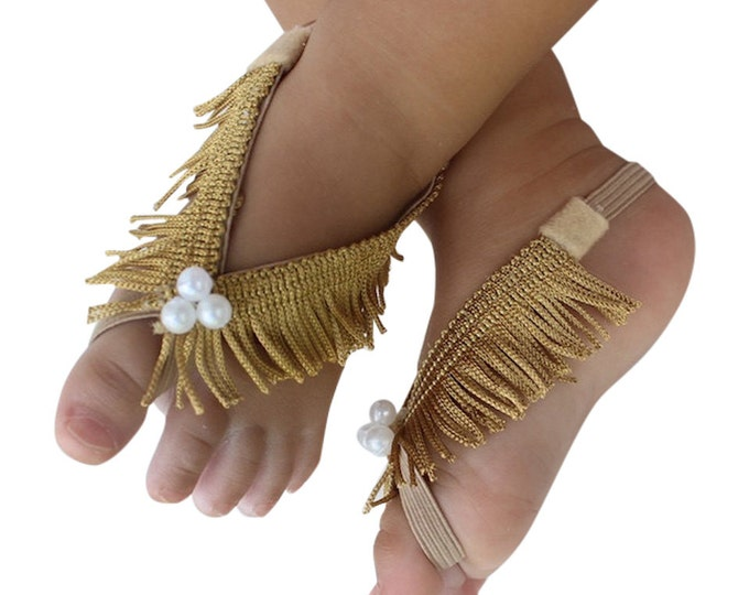 Featured listing image: Fringe Baby Sandals, Gold Sandals, Gold Barefoot Sandals, Barefoot Baby Sandals, Baby Barefoot Sandals, Baby Accessories, Sandals For Babies