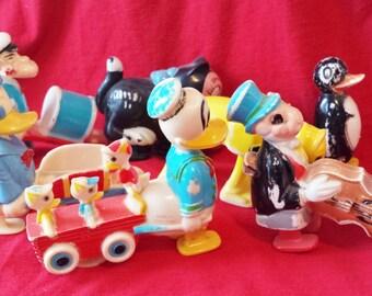 Vintage Ramp Walker  Seven Marx Plastic Walt Disney Toys Donald Duck Pluto Popeye  disneyana chilly willy figaro