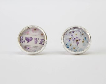 Love earrings, with heart and flowers, pink blue purple,silver color, Paradis des Bijoux