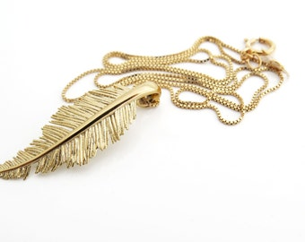 Feather pendant necklace, 14k gold pendant necklace, unique gold necklace, delicate feather pendant necklace, 14k gold necklace, gift.