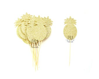 12 Gold Glitter Pineapple Cupcake Toppers - Summer Cupcake Toppers, Summer Birthday, Pineapple Party, Pineapple Decor