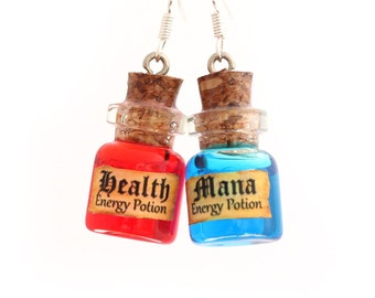 Mana and Health potion earrings, geek jewelry, miniature potion jewelry