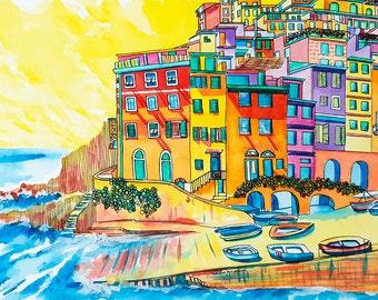 Cinque Terre Original Painting: Riomaggiore, Cinque Terre, Italy.