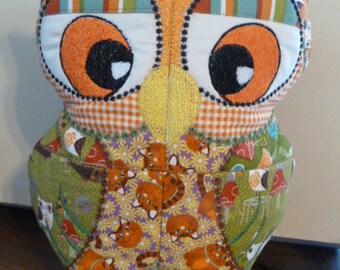 Autumn Colors Scrappy Owl Doorstop