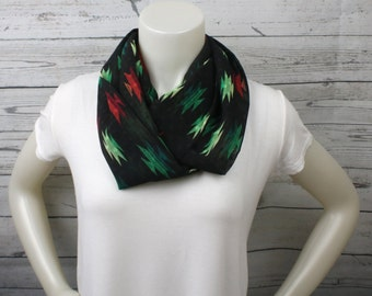 Red And Green Print Scarf, Southwest Print Loop Scarf