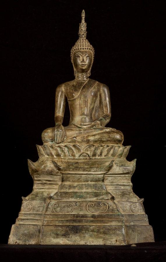 "19th Century Antique Laos Enlightenment Large Buddha Statue - 53cm/21"""
