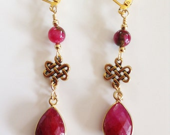"Ruby earrings ~ red earrings ~ Ruby Jewelry ~ July birthstone ~ jewelry gift~ Valentines Day Jewelry ~ Holiday gift ~ ""Ruby Rain"""