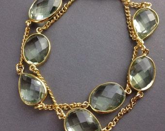 Green Amethyst Bracelet ~ Chain bracelet ~ faceted green Amethyst gemstone ~ Vermeil gold bracelet ~ double strand bracelet ~ green bracelet