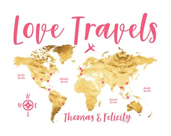 Personalized Map of Travels, Pretty Gifts, World Travelers, Wedding Newlyweds Gifts, Wedding Map Guestbook, World Oceans, Gold, Pink | WF525