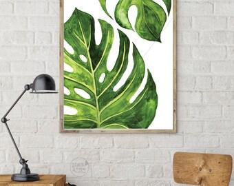 Monstera Leaf || monstera leaf print, monstera print, Monstera Deliciosa Leaf Art, Monstera Poster, Tropical Leaf, Plant Leaf Print, A3