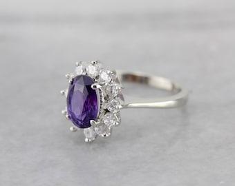Purple Sapphire Ring with Bright Diamond Halo in White Gold AE1JC4-P