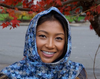 Hooded Scarf in Blue Ombre