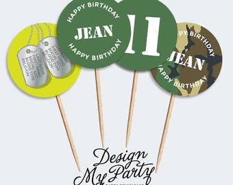 Army Camouflage Laser Tag Cupcake Toppers (Personalised Printables)