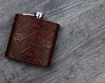 Leather Hip Flask Monogrammed Embossed Gothic Style - 6oz Hand crafted