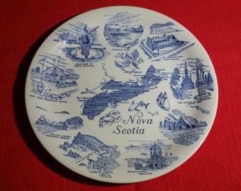 Nova Scotia Plate Wood & Sons England Canada Souvenir Blue White
