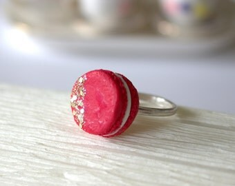 Miniature red macaron ring, mini food ring, Valentines day jewelry, 925 silver ring