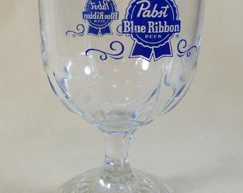 Pabst Blue Ribbon ~  Thumbprint Goblet ~ PBR ~ Glass ~ Advertising ~ 1980 ~ Beer Mug ~ Beer Glass ~ Vintage Bar Ware ~ Penny Lane Treasures