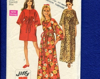 1960's Simplicity 8551 Jiffy Caftans with Zipper Front  Size Small 8/10