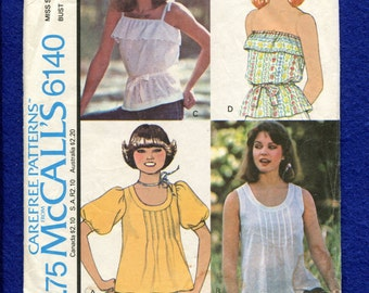 1970's McCall's 6140 Country Chic Tops Pattern Size 10