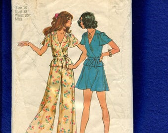 1970's Simplicity 5671 Butterfly Sleeve Wrap Top Flirty Skirt & Super Wide Leg Pants Size 16