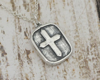 Artisan Sterling Silver Cross Charm or Cross Necklace – Sterling Cross Charm – Sterling Silver Cross Pendant Charm – Artisan Cross Jewelry