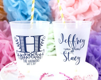 monogram cups frost flex cups plastic cups rustic wedding southern wedding