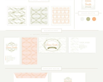 FULL BRANDING PACKAGE Kit includes business cards letterhead stationary  Luxury Boutique Style Logo 1 pattern logo photography boutique