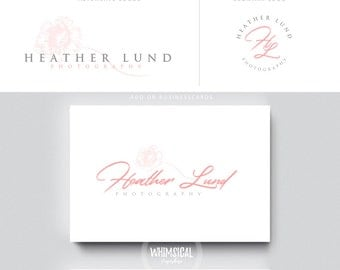 flower signature logo brush rose initials businesscards  simple modern feminine branding- brush Identity artist makeup wedding photographer