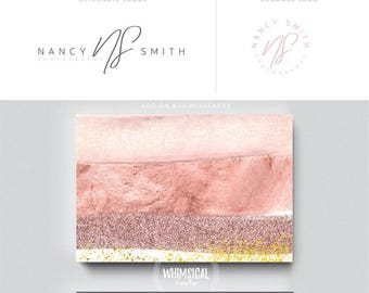 makeup artist brush 2 brand initials businesscards simple modern feminine branding- logo Identity for artist makeup and wedding photographer