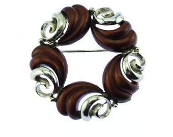 Vintage Brown Thermoset Brooch, Brown and Gold Brooch, Gold Circle Brooch, Gold Swirl Brooch