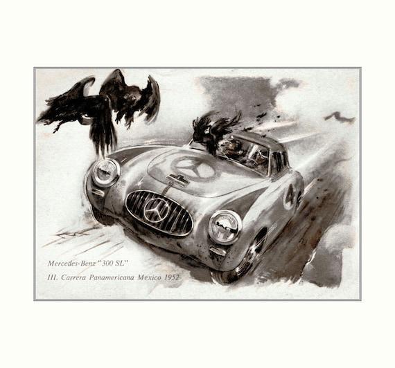 Mercedes benz 300 sl 1952 vintage poster art print retro style for Vintage mercedes benz posters