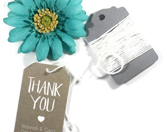 Wedding Favor Tags set of 20 - Personalized Kraft Brown Wedding Favor Tags - Bridal Shower - Wedding Favors - Thank You Tags - Shower Lables