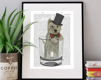 Funny Westie gift - West Highland Terrier in whisky tumbler - funny home decor funny fabfunky print wall art uk seller only uk shop dog art