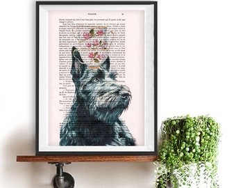 Scottish Terrier Art Print, Stacking teacups on dog, Animal Painting poster dog typography recycled book print Birthday Print