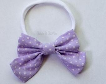 Baby/Girls Purple Polka-dot Fabric Bow, Nylon Headband, Purple Headband, Easter Headband, Spring Headband, Purple Hair Bow, Polka Dot Bow