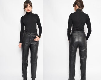 Vintage 90's Black Real Leather Pants / High Waisted Real Leather Pants / Leather Straight Leg Pants - Size Small