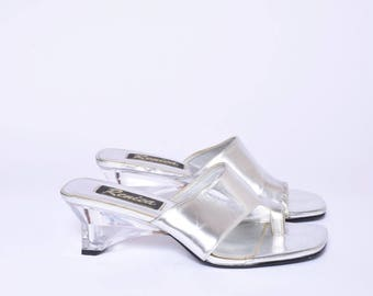 Vintage 90's Silver Faux Leather Sandal Shoes with Clear Plastic Heels