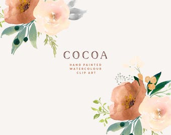 Hand Painted Watercolour Rose Clipart - Cocoa