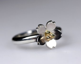 Silver & Gold Blossom Ring