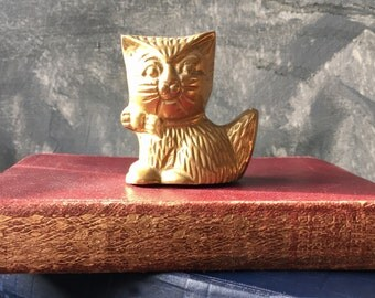 Cat Figurine   Vintage Solid Brass Cat Figurine   Brass Cat Paperweight for Home or Office