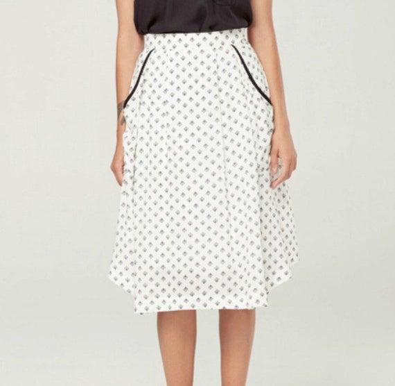 ZENITH - fluid midi skirt with pockets, mid long skirt, mid calf skirt for women - white with lotus flowers print