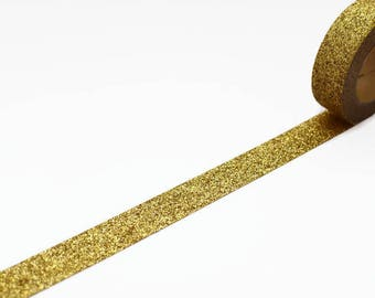 Chunky Gold Glitter Tape - Sparkly Gold Decorative Washi Tape - Christmas Glitter Tape