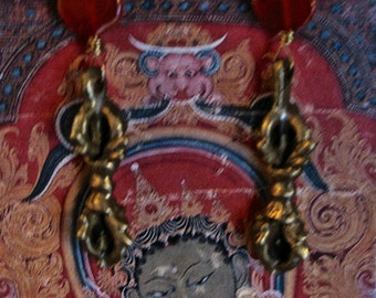 Tibetan Dorje earrings, Carnelian and Tibet Dorje earrings, Buddhist Dorje earrings