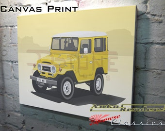 Toyota FJ40 Land Cruiser CANVAS PRINT 12x8(A4) to 36x24(A1) Classic Cars Custom Personalised Premium Illustration Colour & Registration