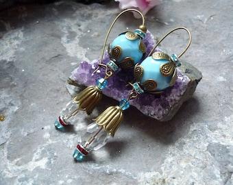crystal rhinestone turquoise earring, vitrail earring, vintage inspired earring, downton abbey inspired earring, vintage inspired earring,