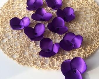 Fabric flower appliques, floral embellishments, satin sew on flower appliques, purple fabric flowers (10 pcs)